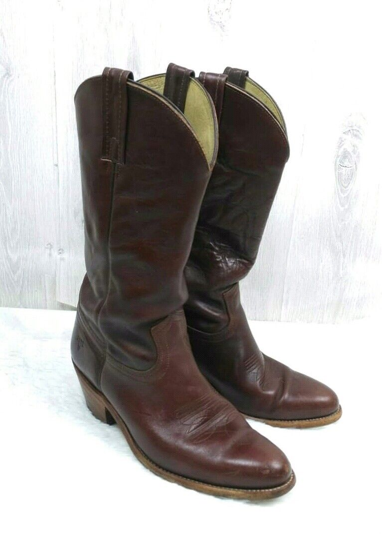 Frye Cowboy Western Boots Size 9.5D Made in USA Cognac color  R02226 2350
