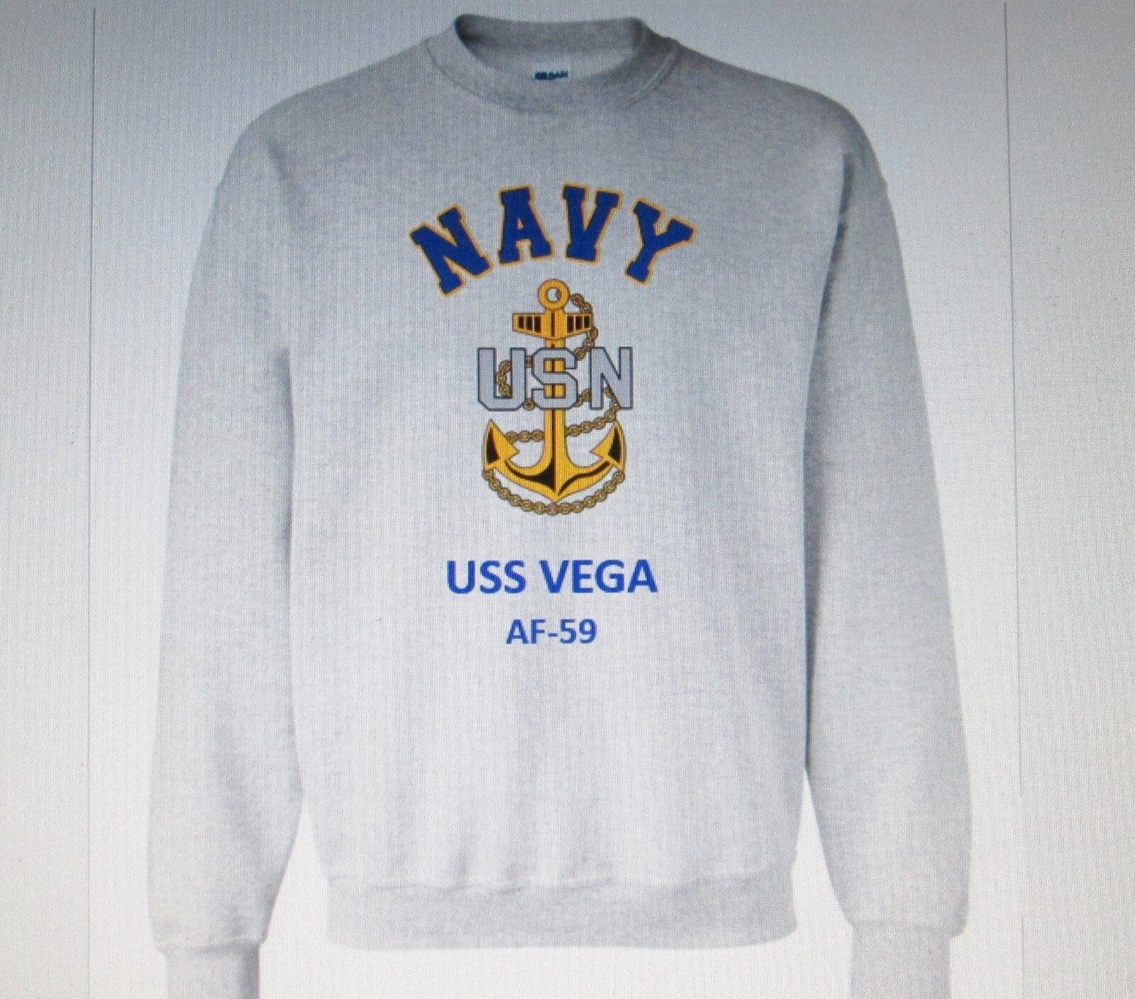 USS VEGA  AF-59  STORES SHIP  NAVY ANCHOR EMBLEM SWEATSHIRT
