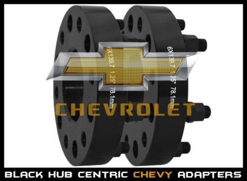 "2 Pc Chevy Silverado 1.25/"" Thick Black Hub Centric Wheel Spacers Adapters 14x1.5"