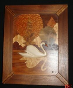 Vintage-Robert-W-Johnson-Signed-Wood-Marquetry-Inlay-Swan-Hanging-1980-039-s