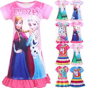 Kid-Girls-Cartoon-Nightdress-Nightwear-Unicorn-Frozen-Princess-Pyjamas-Pjs-Dress