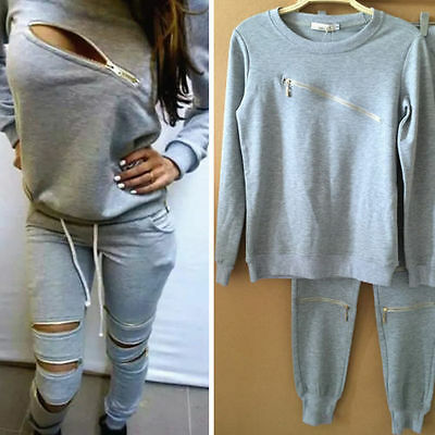 New Womens Sports Sweatshirt +Pants Track & Sweat Suits Casual Tracksuit Outfits