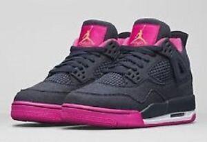 online store 897d7 afa5e Image is loading Air-Jordan-Retro-4-Navy-Denim-vivid-pink-