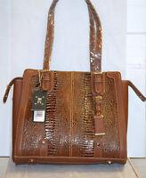 Mc Handbags Elena 9585 Reptile Embossed Leather Top Zipper Closure