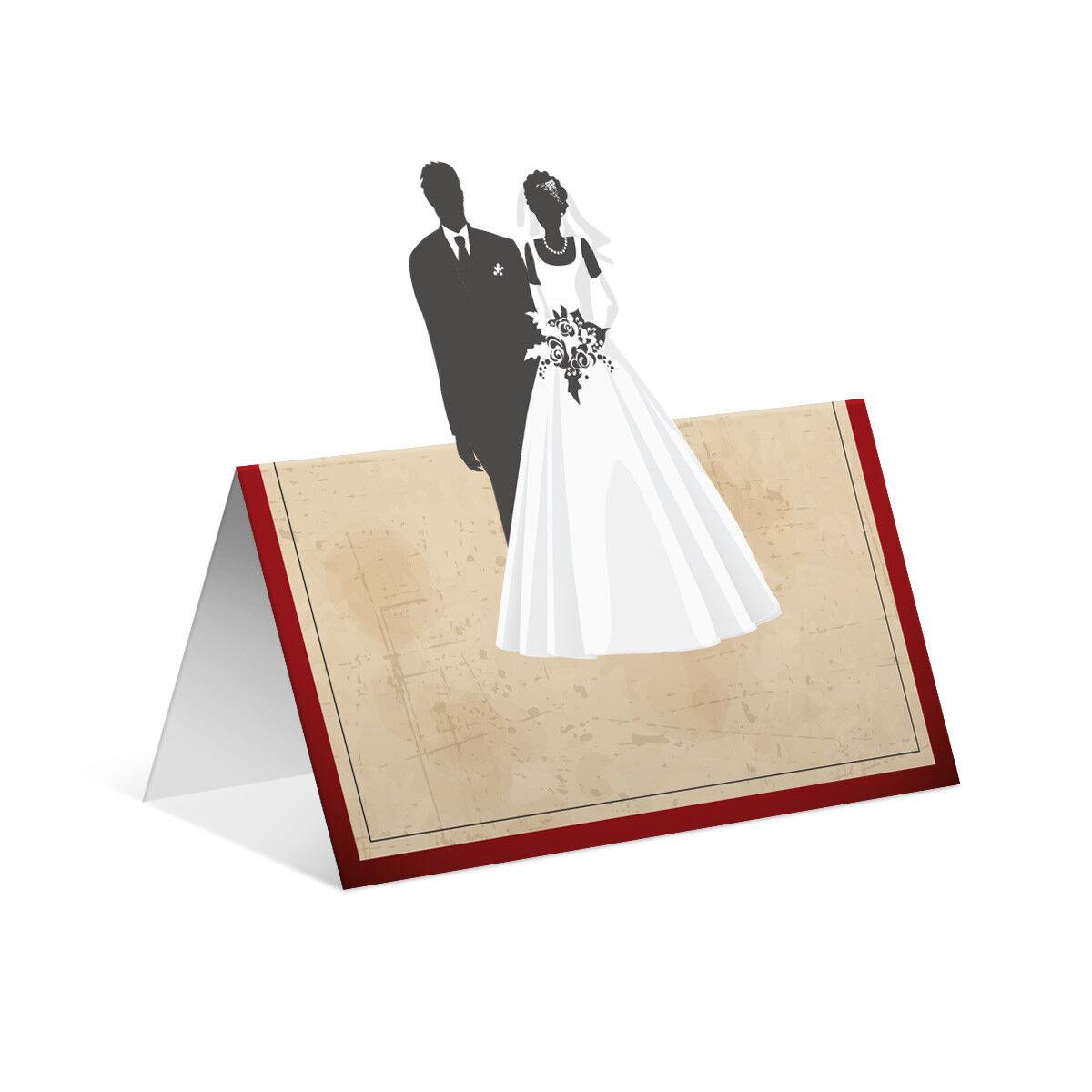 Pop Up Blanko Platzkarten Tischkarten Geburtstag Hochzeit Hochzeit Hochzeit Vintage Brautpaar Rot | Hohe Sicherheit  | Mangelware  c16f9d