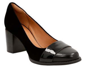 130-size-6-5-Clarks-Artisan-Tarah-Brae-Black-Leather-Heel-Pump-Women-Dress-Shoe