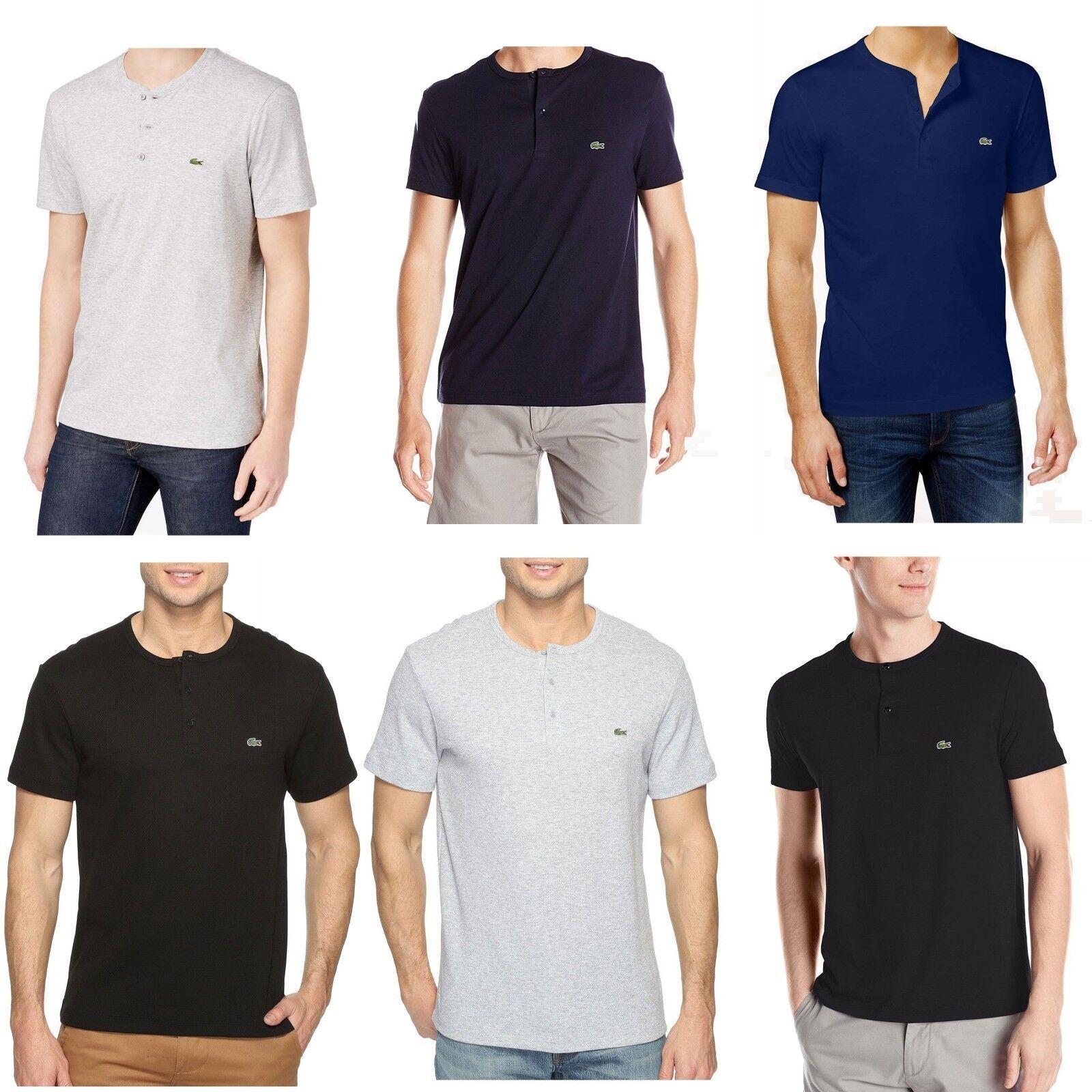 Lacoste Men's 100% Cotton Henley Tee T-Shirt Multi-colors