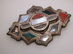 BEAUTIFUL-ANTIQUE-VICTORIAN-SILVER-SCOTTISH-INLAY-AGATE-BROOCH