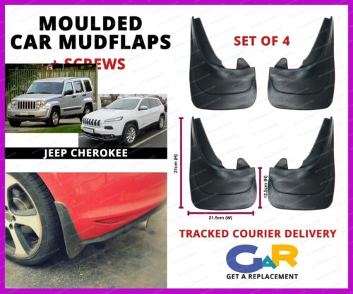Rubbert Car Mud Flaps Splash guards set of 4 front and rear for Jeep Cherokee