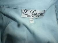 G. Baresi Bluse hellblau Gr. 40 hochwertig Perlmuttknöpfe leichtes Waffelmuster