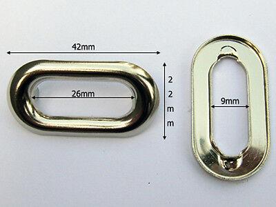 JCD26-NL 50sets 26mmx9mm NICKEL Metal eyelets Oval-shaped w/prongs Rivet lockers