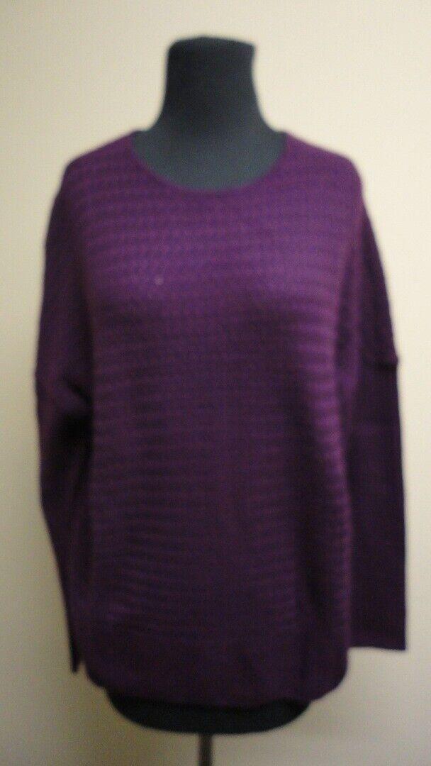 ST. JOHN Deep Magenta Cashmere Long Sleeves Casual Sweater NWT Sz L GG6467