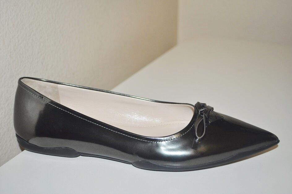 470+ Prada Pointy Toe Bow Logo Ballet Flats Metallic GREY Patent Leather Sz 7.5