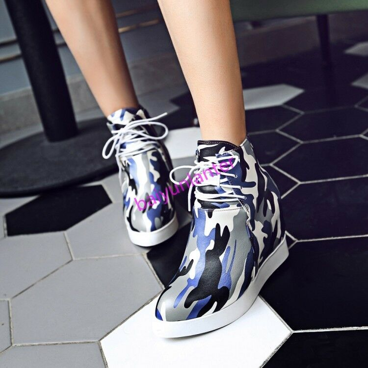 Womens PU Leather Hidden Heel Ankle Boots Camo HIgh Top Platform shoes Size Hot