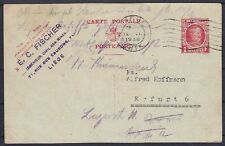 Belgien 1 F. alte Ganzsache 1930, gel. Liege - Erfurt, GA