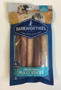 5 Pack Barkworthies Bully Stick Odor-Free Double Cut 6 each
