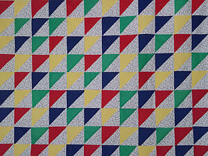 Unfinished Quilt Top-Flowers with Red,Blue Green &Yellow Diagonals, approx 59x82