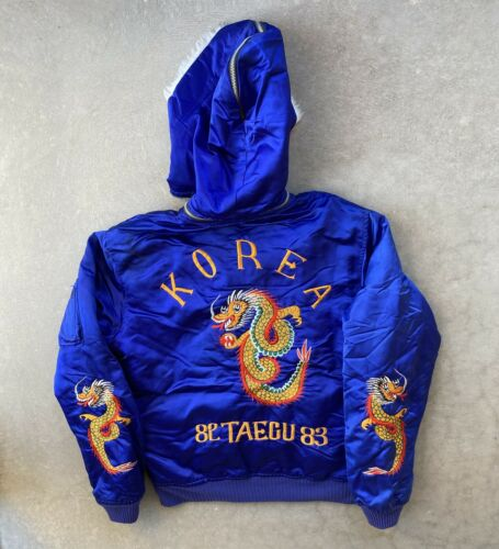 Vtg Blue Satin Embroidered Korea Dragon Hooded Suk