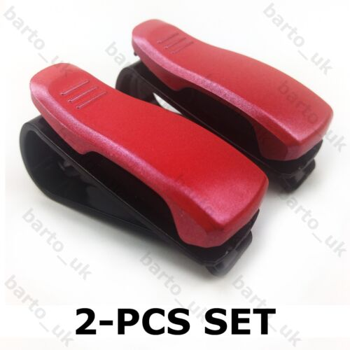 2PCS Set Red Car Sunglasses Ticket Credit Card Pen Holder Clip Sun Visor Mount