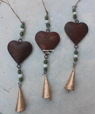 Rustic Metal Heart Wall Hanging Ornaments Handmade Decorative Collectibles 3 Pcs