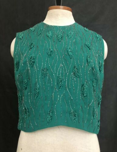 Vintage 60s Forest Green Pearl Sequin Embroidered