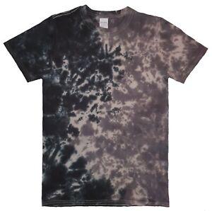 Black-Grey-TIE-DYE-T-SHIRT-Fashion-Tye-Die-Tshirt-Festival-Retro-Rainbow-Spiral