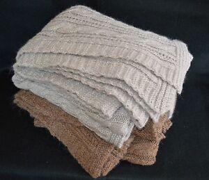 Brown And Gray Mohair Blend Cable Knit Throw Blankets