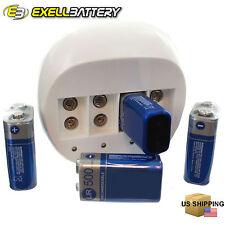 4x 9V 500mAh Li-ion Rechargeable Batteries + 4 Slot 9 Volt Charger FAST USA SHIP