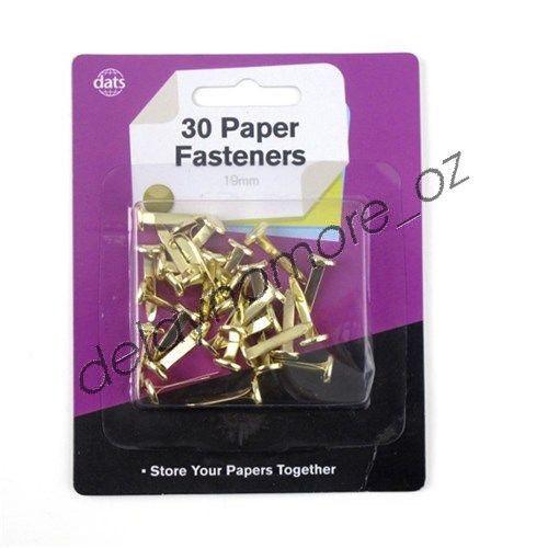 30 x Paper Fasteners Gold Brass Fastener 19 mm Card Scrabooking NEW