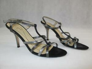 8b5647c7292 KATE SPADE BLACK SUEDE SILVER PEWTER LEATHER STRAPPY HEELS ITALY 7.5 ...