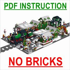 Lego Custom Holiday Christmas Market Train Station - Instructions Only