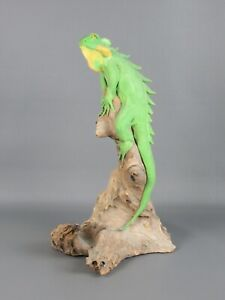 Vintage-Estatua-Figura-Lagarto-en-Tronco-Madera-37CM