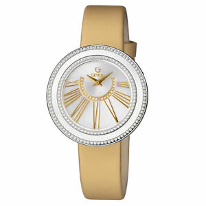 Gevril Women's 3246.1 Fifth Avenue Diamonds Silver Dial Gold Satin Watch