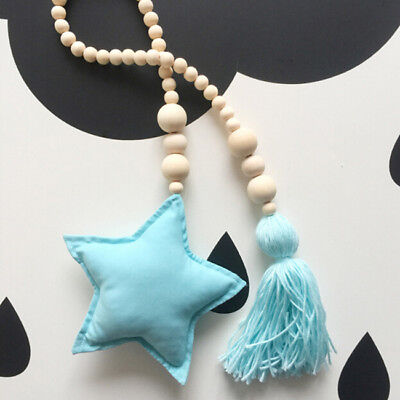 Pink Moon Wall Hanging Ornament Tieback Rope for Kids Bedroom Decoration