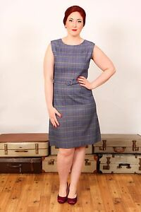 60s vintage blue yellow & red tartan plaid check wiggle pencil / shift dress