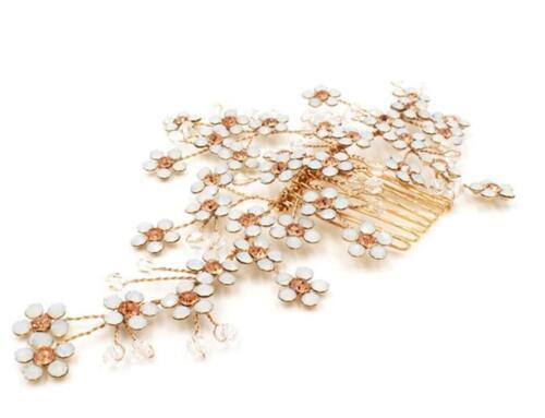 Floral de Diamantes de Imitación Tocado Nupcial Peine de Cabello Dorado Cristal De Boda Graduación Casco