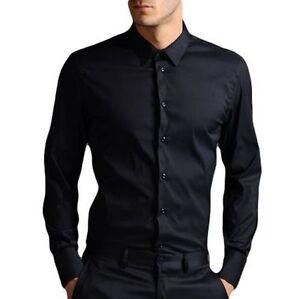 Para-hombres-Camisa-Informal-Negro-De-Moda-97-Algodon-Rico-pequeno-mediano-XL-2XL-Nuevo
