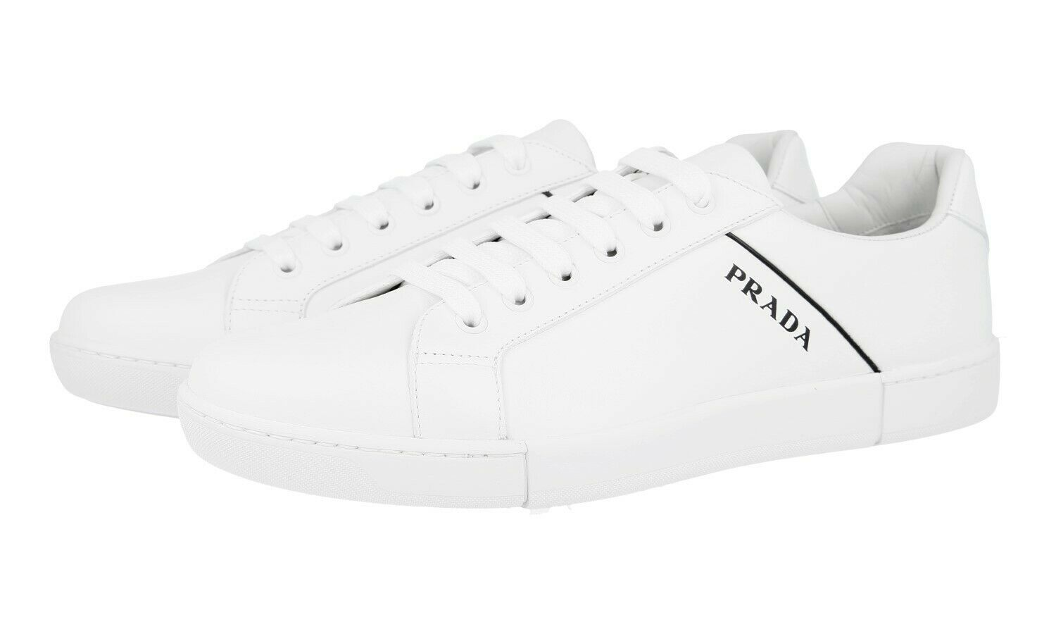 AUTH LUXURY PRADA TRAINERS SHOES 4E3340 WHITE NEW 11,5 45,5 46
