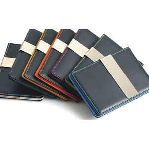 Mens-Premium-Faux-Leather-Silver-Money-Clip-Slim-Wallets-ID-Credit-Card-Holder