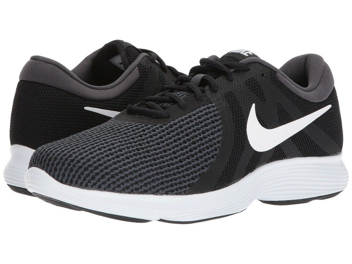 Nike Mens Revolution 4 Trainers, Nike Revolution Running Shoes - Black Grey 6-14