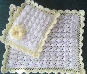 1a4adc1f3 💕Hand crochet dolls white   Yellow blanket   pillow Set pram cot ...