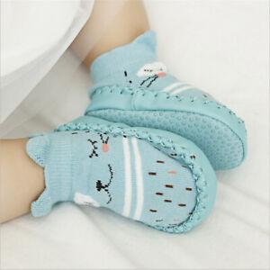 Neugeborene Kinder Baby Mädchen Jungen Cartoon Anti-Rutsch-Slipper Socken Nette