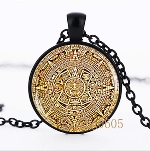 Mayan Calendar photo Glass Dome black Chain Pendant Necklace wholesale