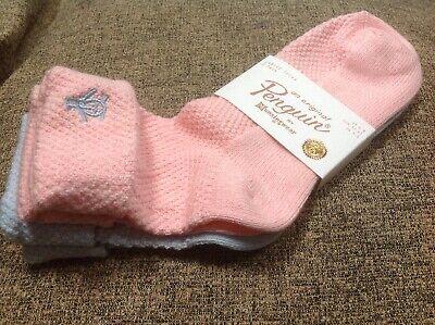???? ???? ???? Penguin Munsingwear Donna Calzini Con Risvolto Blu/rosa 2 Paia Nw ???? Rrp16.99-