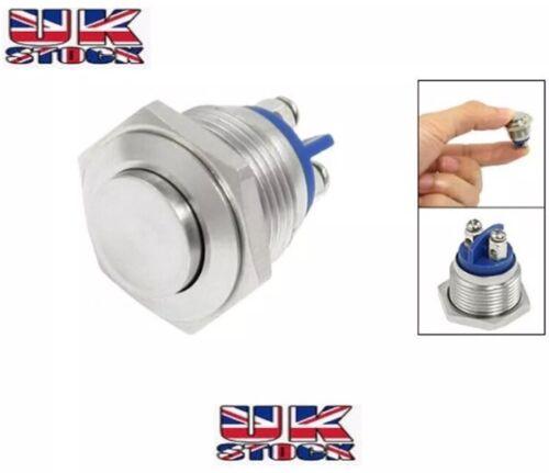 16 mm Impermeabile Azione Momentanea in metallo Push Button Switch SPST SOLLEVATO TESTA PIATTA