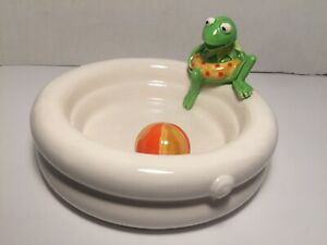 Vintage-Kermit-The-Frog-Muppets-Swimming-Pool-Sigma-Ceramic-Dish-Plate-RARE