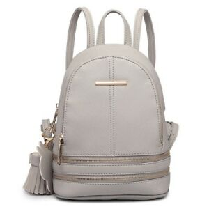 5e8d6eb59ef8 Details about New Ladies Grey Stylish PU Leather Laptop iPad Womens  Backpack Girls School Bag