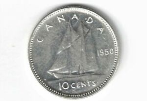 CANADA-1950-TEN-CENTS-DIME-KING-GEORGE-VI-800-SILVER-COIN-CANADIAN