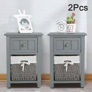 Pair of Wooden Storage Bedside Tables Night Stand Cabinet Drawer Wicker Baskets