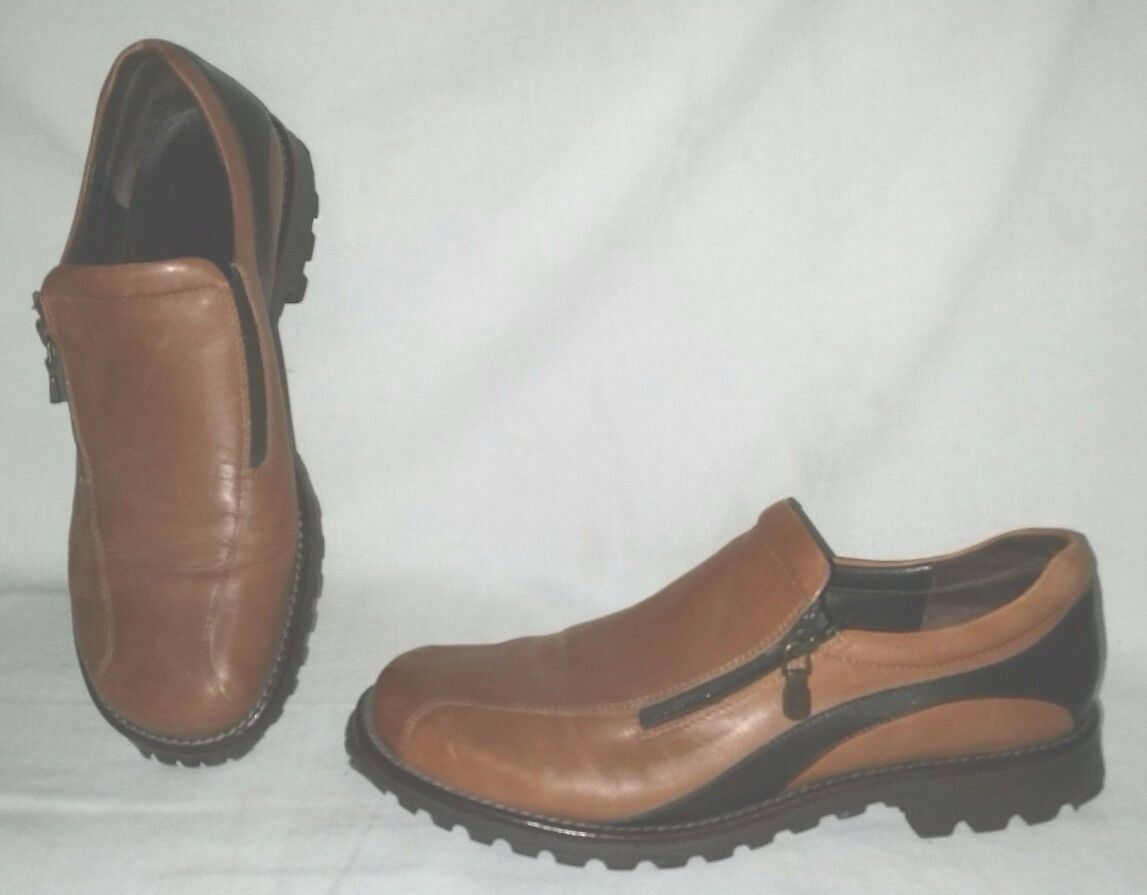 Fabulous Sport Donald J Pliner Taille 10 M UZIP Mocassin Camel Espresso Made In